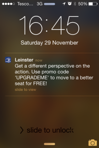 RDS Leinster iBeacon Push Notification