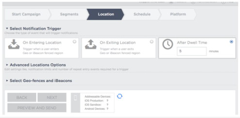 Trigger iBeacon or Geo Fence notification by entry, exit or dwell time
